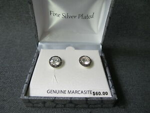 Unused genuine marcasite clear crystal silver plated earrings in case $60 tag