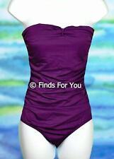 J Crew Women's Loop-Front Bandeau One Piece Swimsuit Bathing Suit Purple 2 85581