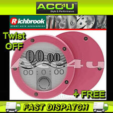 Richbrook Pink Alloy Twist Off Back Round Car Tax Disc Permit Holder+Free