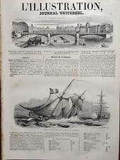L'ILLUSTRATION 1845 N 135 NAUFRAGE DE LA GOELETTE LA DORIS DANS LE PORT DE BREST
