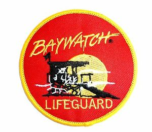 EMBROIDERED BAYWATCH LIFEGUARD PATCH Retro collector iron on cloth cult TV badge