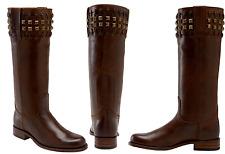 $559 Sendra 9177 Stud Boot Brown Leather Riding Biker Boot Flat 7 New