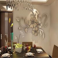 3D Spiegel Blume Aufkleber Wand Aufkleber DIY abnehmbare Dekor CP