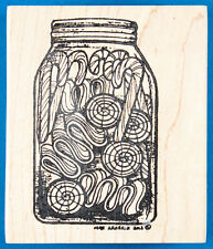 Jar of Hard Candy Rubber Stamp by Northwoods - Old Fashioned Ribbon & Candy Cane
