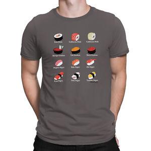 Mens Japanese ORGANIC T-Shirt Anime Manga Japan Types of Sushi Food Gift