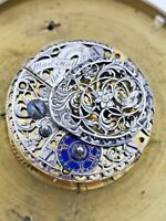 Superb Partly Silver Verge Pocket Watch Movement, Martin Hall Yarmouth 71mm Dial
