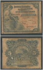 Belgian Congo 5 Francs 1953 in (VG+) Condition Banknote P-21