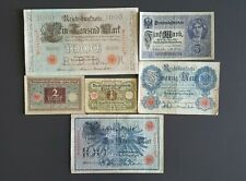 Germany lot 6 banknotes 2nd Reich Weimar Republic mark