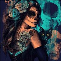 DIY Diamond Painting Zombie Girl Flower Cat Skull 5D Full drill Handicraft 6484X