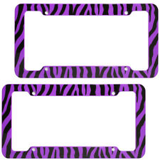 2 PC Set Safari Purple Zebra Tiger Print Plastic License Plate Frames Car Truck