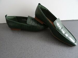 M&S Collection Ladies Slip on Loafer Shoes ~Dark Green Leather UK 6.5