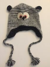 Owl Gray Handmade Winter Knit Wool Hat, Fleece Lining, UNISEX, Nepal Gift