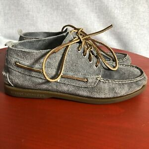 Sperry Top Sider Men's Size 9M Gray Suede Slip On Casual Chukka Mid Boat Shoes