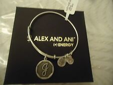 Alex and Ani Initial J Charm Bangle Bracelet Russian Silver New W/Tag Card & Box