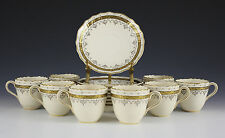 8pc Set Brown, Westhead & Moore Co, Cauldron Demitasse Cups & Saucers 1881 Gilt