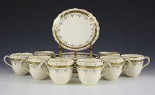 8pc Set Brown, Westhead & Moore Co, Cauldron Demitasse Cups & Saucers 1881 Gilt