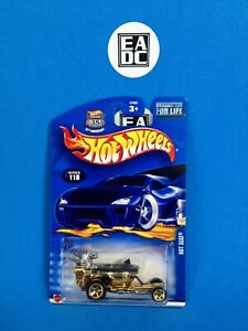 2003 HOT WHEELS HOT SEAT #118 GOLD TOILET / DUNNY ON WHEELS EADC
