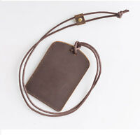 Genuine Leather Card Sleeve Badge Wallet Cash Neck ID Holder Lanyard Strap Pouch