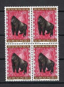 Ruanda Urundi 1959 Sc# 137 Gorilla monkey Belgian East Africa block 4 MNH