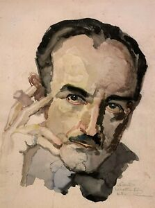 NICOL SCHATTENSTEIN 20th c Russian American NY SELF PORTRAIT WATERCOLOR PAINTING