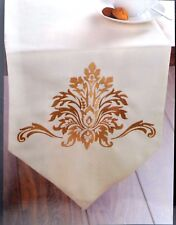 "HOMEBASE 13 x 72"" Gold Damask TABLE RUNNER Canvas Poly Cotton EMBROIDERED Cream"