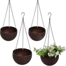 Worth Garden Hanging Planter Basket with Drainer - Brown, Pack of 4
