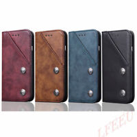 For iPhone Xs 8 Sumsang S8 S9Removable Leather Wallet Magnetic Cardsb Case Cover