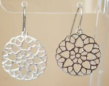 Round Filigree Design Silver Plated Hook Dangle Earrings Womens Fashion Jewelry