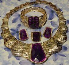 Dolly-Bijoux Fantaisie Parure 4PC Pavé Améthyste Diamant Cz Bague T56 signé FB