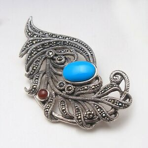 Turquoise And Marcasite Gemstone Designer Antique Brooch Fine Jewelry Free Ship.