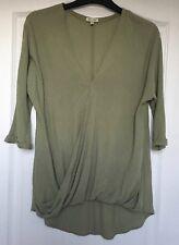 """River Island"" Khaki Top, Size 6, 3/4 Sleeves, V Neck, Wrap front detail"