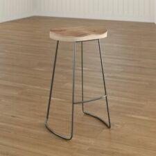 Luxury 70cm Bar Stool Metal Frame Wooden Seat Oak Kitchen Bistro Chair