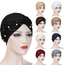 Women's Turban Hat Beaded Pearls Muslim Wrap Hair Cap Hijab Head Scarf Black