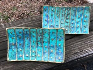 4 PEPE MENDOZA Door/Drawer Pulls ca 1958 Brass with Blue Stone Inlay Mexico