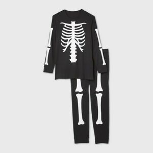 Men's Tall Halloween Skeleton Matching Family Pajama Set Black Large Tall