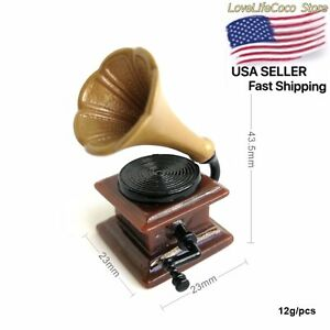 Dollhouse Miniature 1:12 Scale Record Player Music Victorian Gramophone Vintage