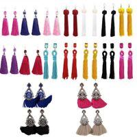 Women Fashion Rhinestone Long Tassel Dangle Earrings Fringe Drop Earrings Gift