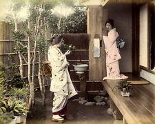 Ogawa Kazumasa Japan Two women in a garden Original handcolored photo 1890 XL187