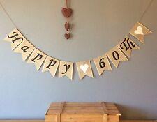 ❤️60th Birthday Bunting Banner. Vintage Hessian Burlap❤️