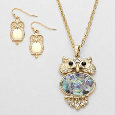 Gold Owl and Abalone Crystal Pendant Necklace Set