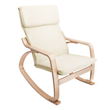 Bentwood Rocking Arm Chair Wooden Fabric Cushion Cover Lounge Beige