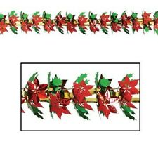 Poinsettia & Holly metallic Garland / Column Party Accessory 9 ft tall - long