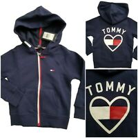 TOMMY HILFIGER Little Girls Full Zip Fleece Lined Hoodie Flag Blue SELECT SIZE