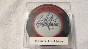 Brain Pothier  Autographed Washington Capitals Puck NHL Official