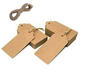 33/66/100pcs Kraft Paper Varied Sizes & color Tags Label Card Gift FREE Twine