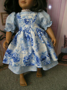 "Sparkle Dress Flower Print Apron 2 piece Dress 23"" Doll clothes fits My Twinn"