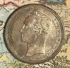 1965 Venezuela 2 Bolívares Nice Silver Coin, Free Shipping