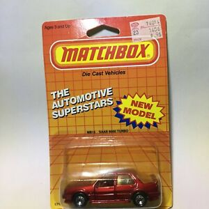 1987 Matchbox Saab 9000 Turbo from Macau - Metallic Red - Moving Parts Very Nice