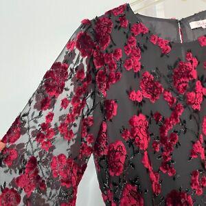 Parker Size Medium Dress Floral Sheer Long Sleeve Elastic Waist Velvet Velour