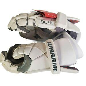 "Warrior Burn 11"" Youth White Lacrosse Gloves New"